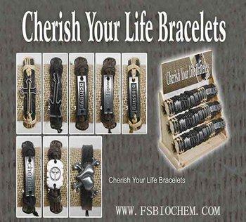 Cherish Your Life Bracelets,fashion leather bangle,Natural Cotton & Leather Bracelets,Leather Bangle jewelry