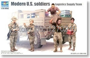 Trumpeter 1/35 00429 Military Figures Modern U.S. Soldiers Logistics Supply Team Plastic Model Kit Free Shipping(China (Mainland))