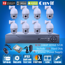 1080P HD Zoom Varifocal 4.7-94mm Dome Surveillance PTZ Camera Onvfi H.264 Video Recorder 8CH NVR Security CCTV System 3TB HDD