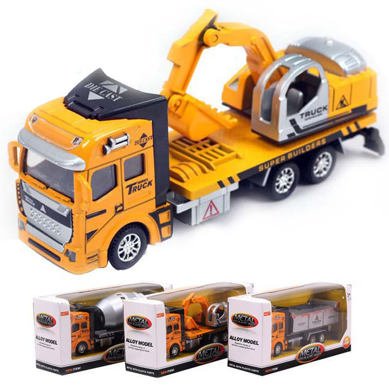 1:48 Truck Model Car excavator Concrete car Dump Truck Alloy Metal & Plastic Toy Cars for Children Gift for Boys(China (Mainland))