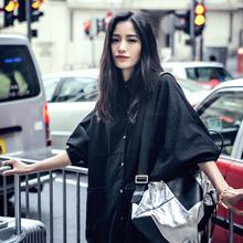 Soft material oversized raglan sleeve loose shirt jacket lapel women's brand black and white single-breasted big pocket-C00710(China (Mainland))