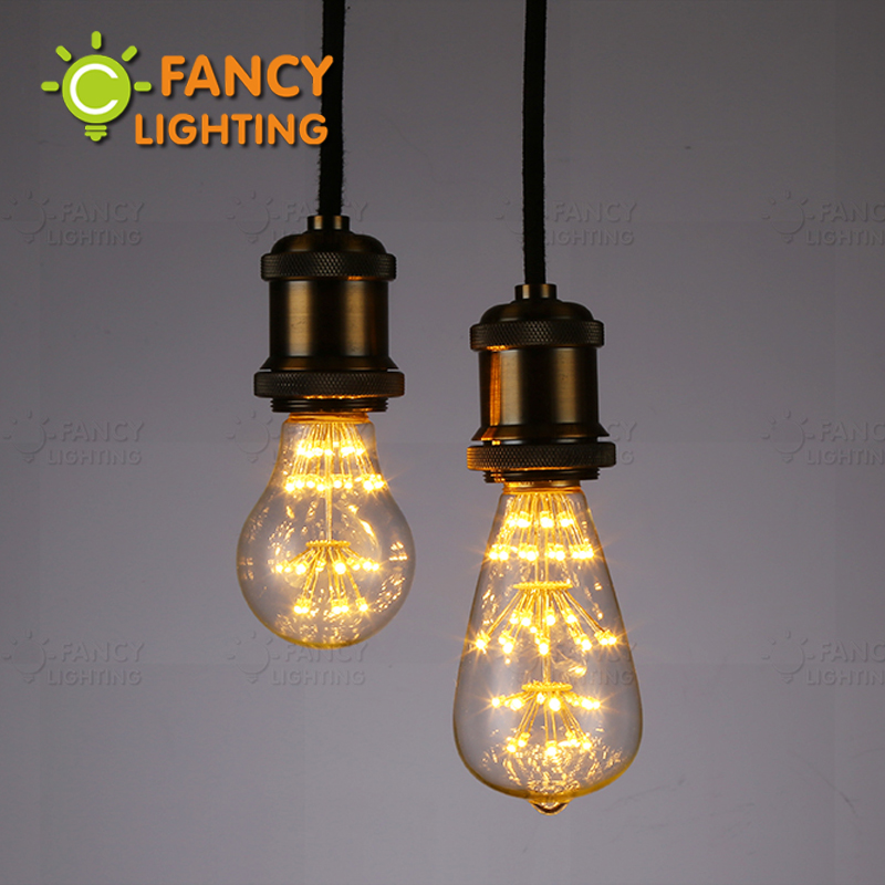 Buy st64 a60 starry sky lamp led edison filament light bulb e27 220v 3w The light bulb store