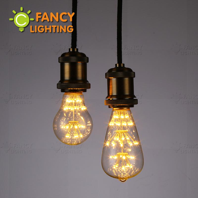 Buy st64 a60 starry sky lamp led edison filament light bulb e27 220v 3w The light bulb store