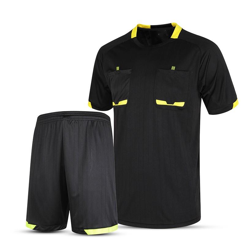 New brand soccer referee uniform men's football jerseys pockets referee short shirtsprofessional survetement soccer referee XXL(China (Mainland))