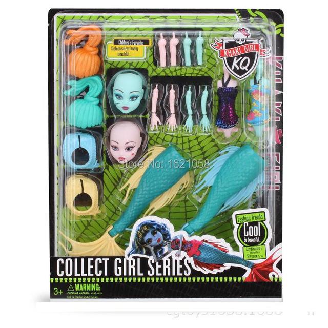 De calidad superior 2 unids articulaciones móviles monstruo disfraz Highschool sirena muñeca de hadas de las muchachas vestir muñeca de la novedad DIY niños presentes