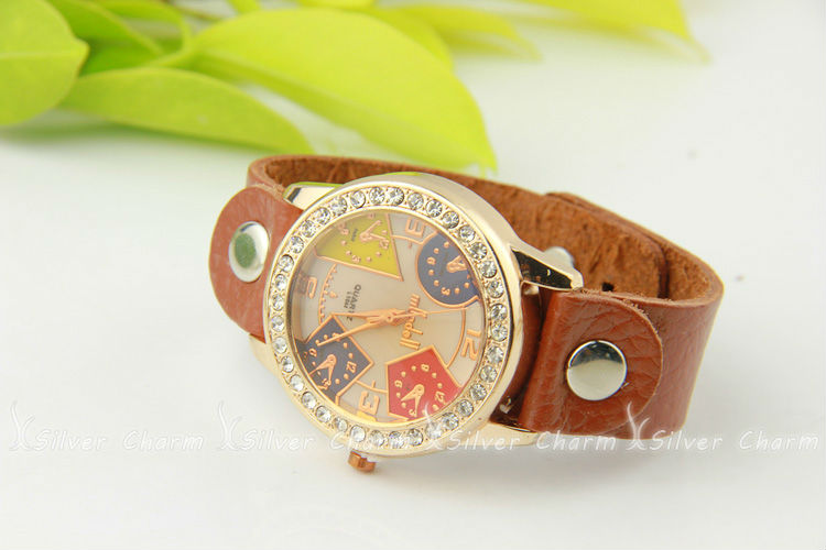 Newest Arrival Vintage Brown Leather Strap Watch for Men with Rhinestone Quartz Top Layer Wristwatch Women