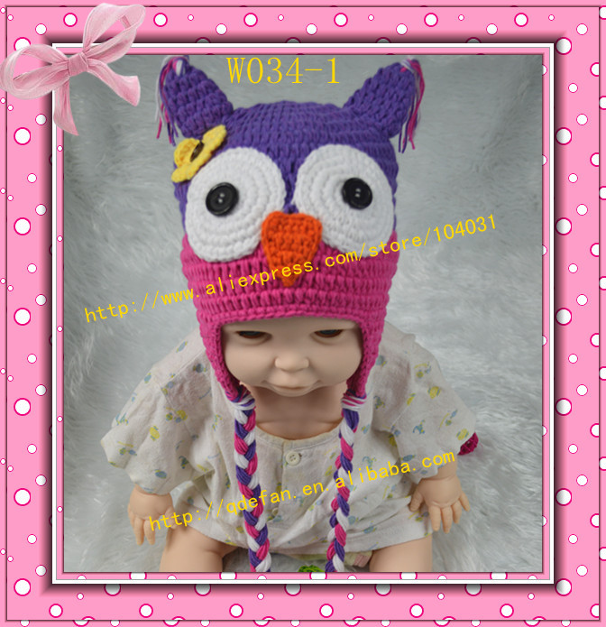 Free shipping hot sale fashion handmade crochet baby animal beanie kids hat pattern owl girls styles wholesale children caps(China (Mainland))