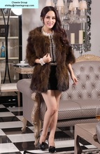 women's fashion design raccoon overcoat raccoon fur overcoat, free DHL/Fedex shipping(CRC0009-5)