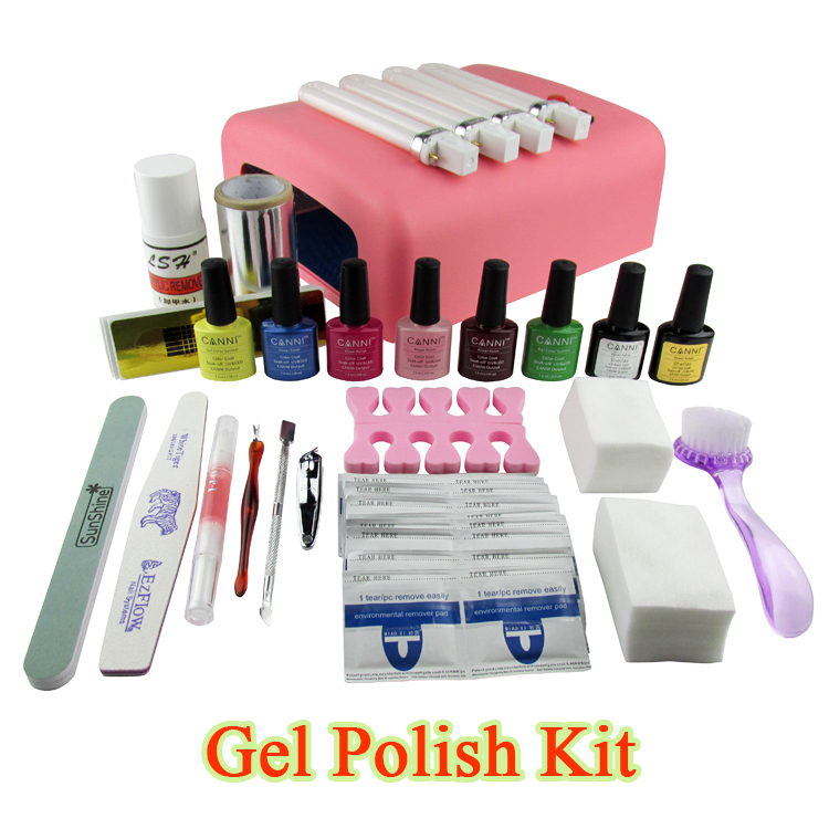 Gel Polish Set Soak Off LED/UV Gel Kit UV 36W Curing Lamp File Nail Art Diy Tools With Base Top Coat Cleanser Buffer Remover(China (Mainland))