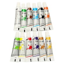 12Pcs/pack Excellent Quality 12ml Paint Tubes Draw Painting Acrylic Color Set Fit For Paintbrush School Stationery(China (Mainland))