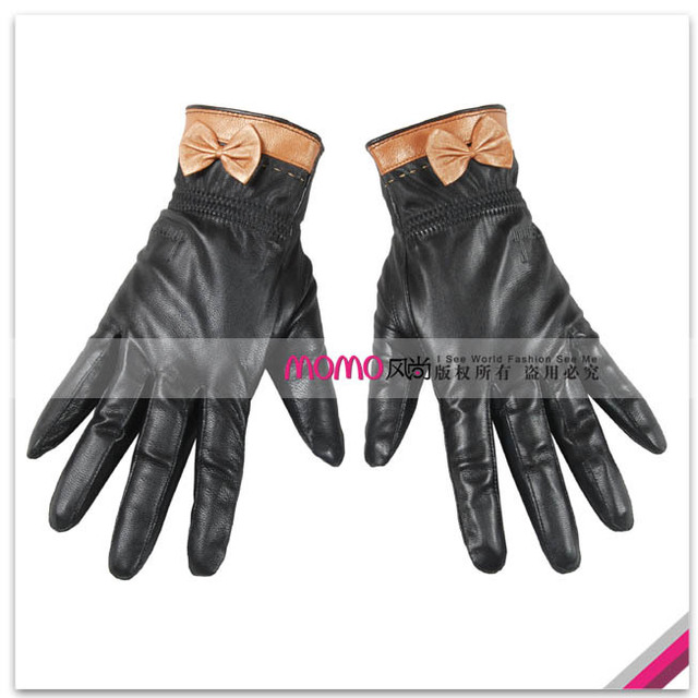 Quality sheepskin gloves repair set ' hands gold bow women's genuine leather gloves