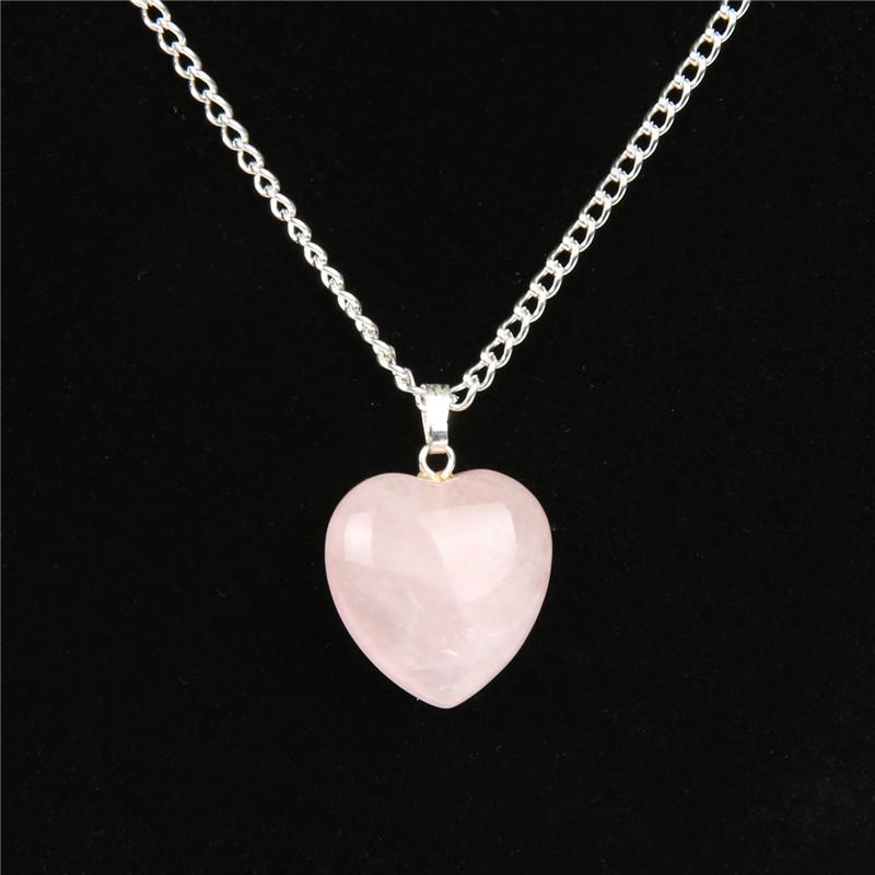 Rose Quartz Point Necklace Heart Crystal Purple Stone Neckalces Power Healing Chakra Reiki Fashion Jewelry Free shipping NS0017(China (Mainland))
