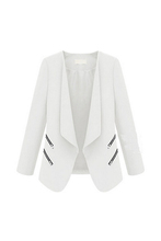 DSGS 5 x (Vintage Women Basic Slim Suit Foldable Blazer Slim Fit Jacket Cardigan Outwear White XL