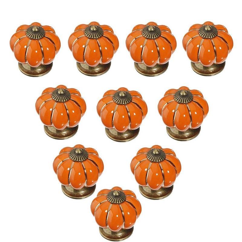 Fetoo 10pcs Pumpkin Ceramic Door Knobs Drawer Pull Handle Cabinet Cupboard Wardrobe