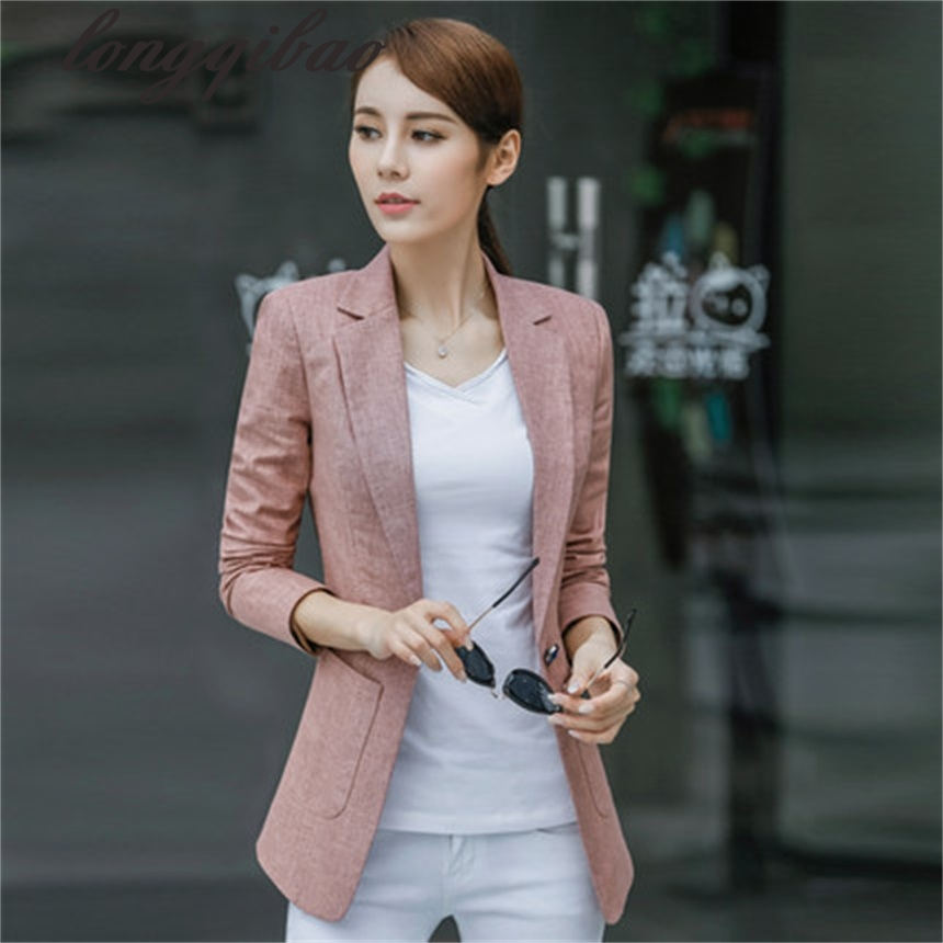 Spring and Autumn fitted new Korean casual long-sleeved suit Slim large cotton and linen suit jacket (4-color optional)