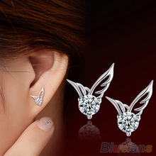 Fashion Womens Silver Plated Jewelry Angel Wings Crystal Ear Stud Earrings  4DRG(China (Mainland))