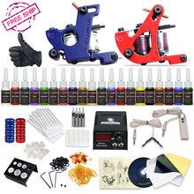 Professional Tattoo Kit 2 Machine Gun 20 Color Inks Power Supply Complete Tattoo Kits(China (Mainland))