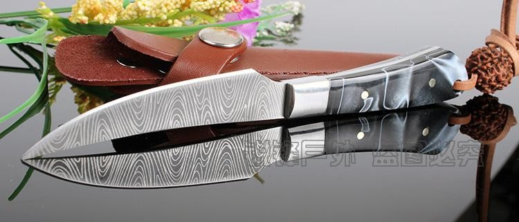 Buy New survival knife Imitation Damascus pattern handmade hunting knife Stainless Steel camping tactical pocket Utility Knife gift cheap