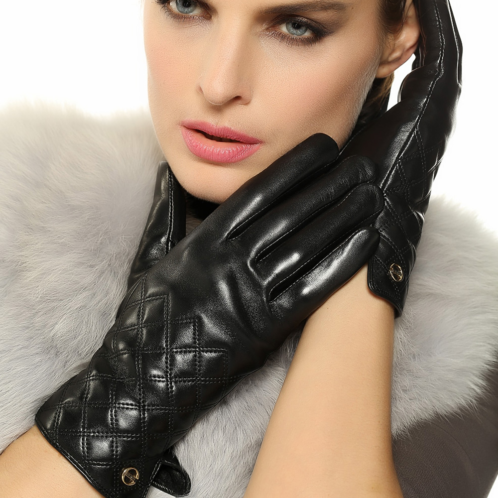 Driving gloves girl - Fashion Women Touchscreen Gloves Real Genuine Leather Winter Plus Velvet Driving Glove Promotion Free Shipping El026nqf1