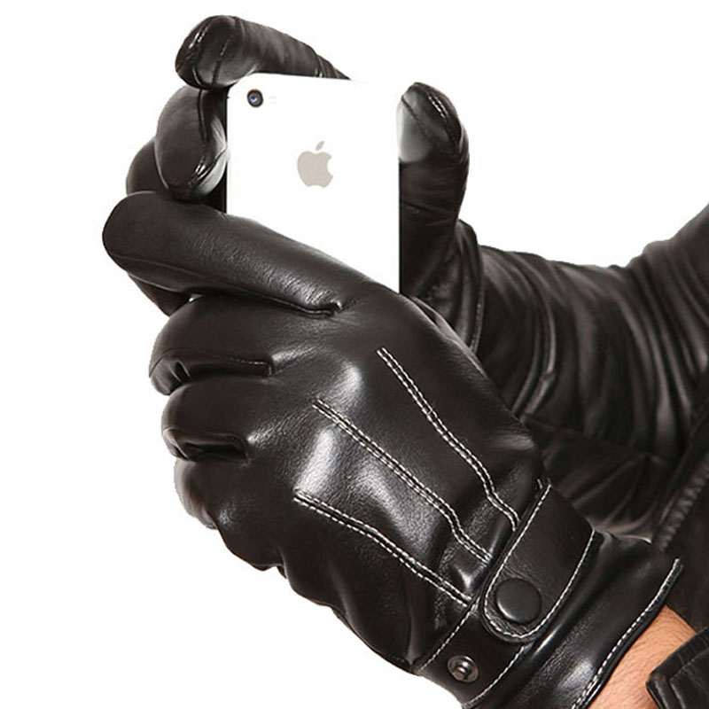 Mittens Keep Warm Winter Gloves Driving Men's Leather Gloves Touch Screen Gloves for Iphone for Sumsung Smart Phone for ipad(China (Mainland))