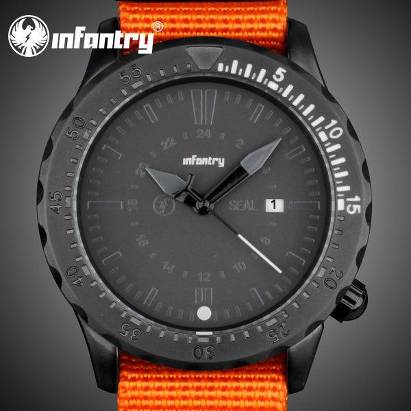 INFANTRY Original Army Corps Style Men's Date Analog Quartz Wrist Watch Orange Canvas Strap Clock Watches Relogios Masculinos(Hong Kong)