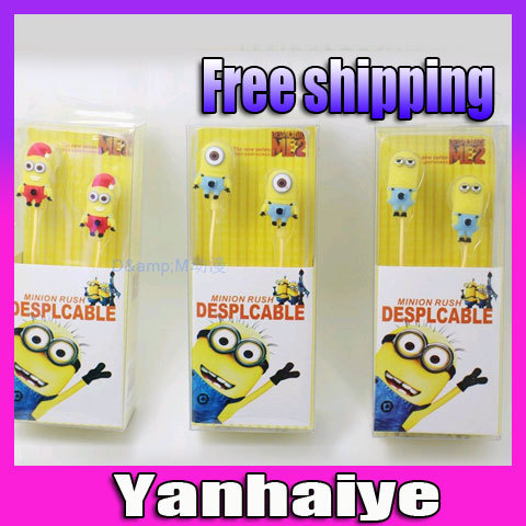 Despicable Me Cartoon Anime the Minion Style 3.5mm in ear Headphone Earphone for Mobile Phone MP3 player PC Computer<br><br>Aliexpress