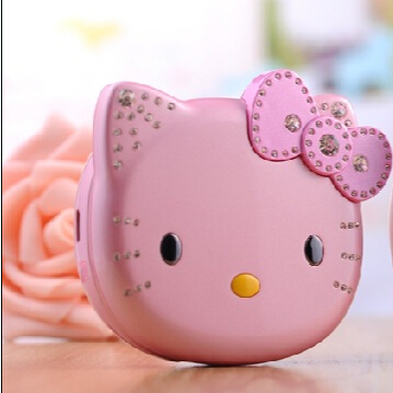 New Hot!! Hello Kitty K688 Cute Girl Children Cartoon Mobile Phone Flip Design Quad band Dual Sim Card Pink White Free Shipping(China (Mainland))