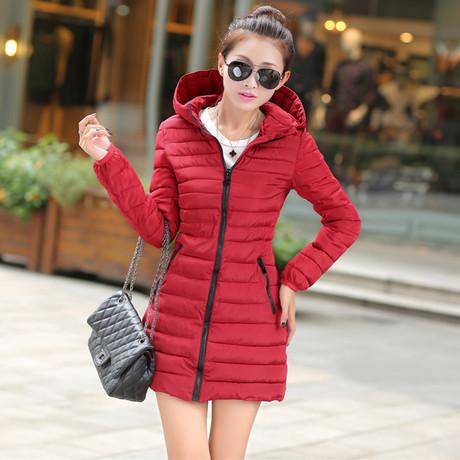 2015 new autumn and winter hooded slim midi pattern eiderdown cotton jacket for women(China (Mainland))