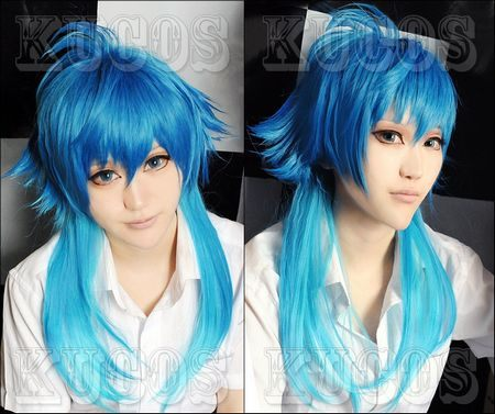 New fashion Mens Wigs DRAMAtical Murder DMMD COS anime wig Omber Color Fashion long style Natural wigs(China (Mainland))