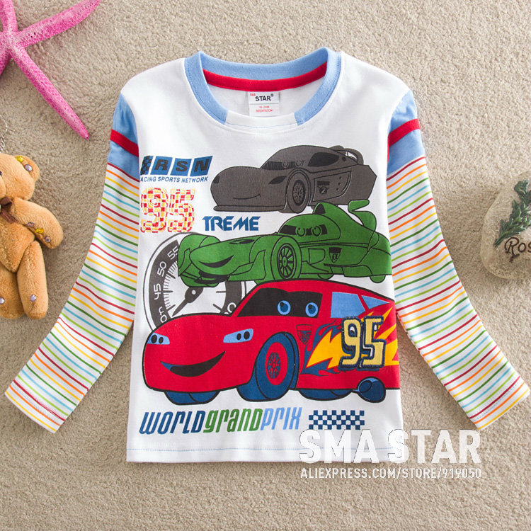 Hot Selling 5 PCS Boys Tops and Tees Cars Fantasia Children Shirts Kids Style Baby Clothing Boy Winter T-shirts Boys SMAL85515(China (Mainland))