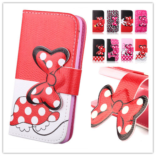 Hot Selling lovely Hello kitty bowknot Polka Dot PU Leather Case for Samusng Galaxy G310 Phone Housing Full Protect Bag(China (Mainland))