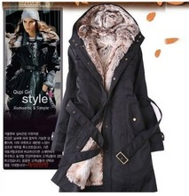 Faux fur lining women's fur coats winter warm long coat jacket clothes wholesale FreeShipping Winter Clothing/Women Clothes1301