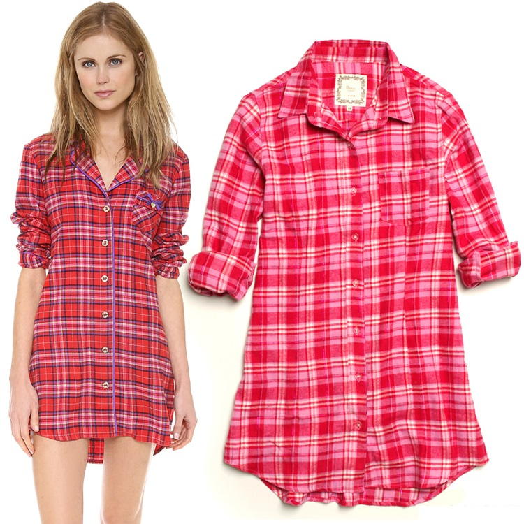 Online get cheap red plaid nightgown for Long sleep shirts cotton