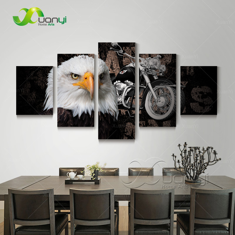 5 Panel Canvas Art HD Printed Eagles Motorcycle Painting Posters Home Decor Wall Art Painting Canvas Print Unframed PR1241(China (Mainland))