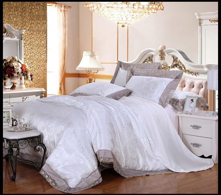 White palace Modal tencel silk wedding princess bedlinen 4pcs lace jacquard luxury comforter/duvet cover bedding set/B3137(China (Mainland))