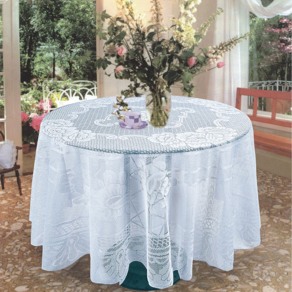 new white flower dia 60 inch round lace tablecloths in table cloth from home garden on. Black Bedroom Furniture Sets. Home Design Ideas