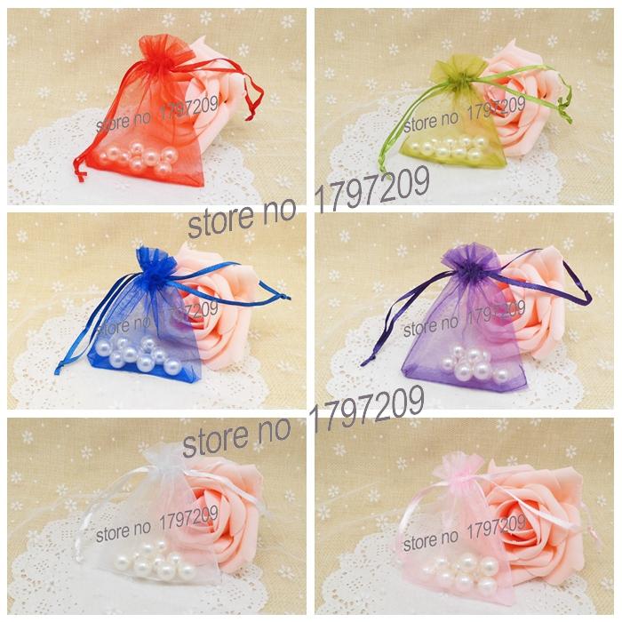 Free shipping 40pcs 8*10cm 6Colors Organza bags Wedding Gift bag Jewelry Candy Bag wedding souvenir wedding christmas decoration(China (Mainland))