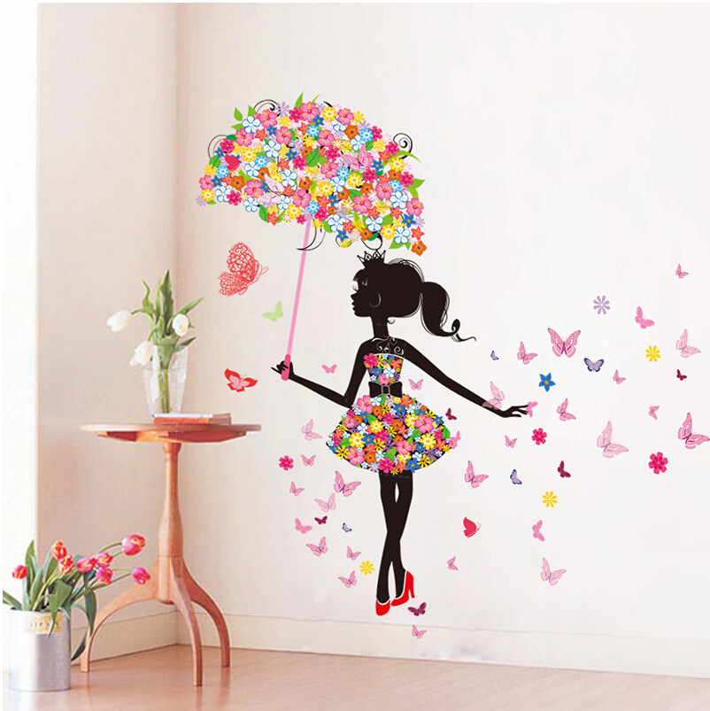 Diy wall stickers pvc large wall sticker pink girl for Wallpapers to decorate walls