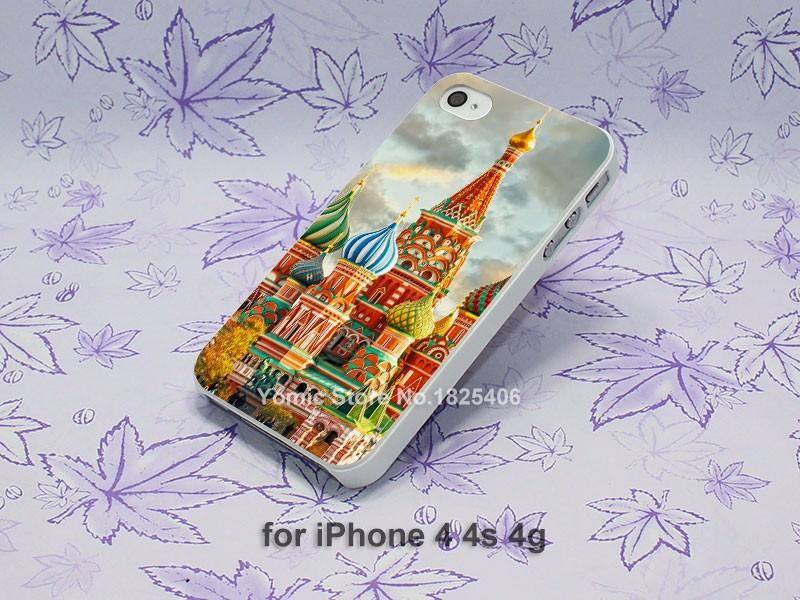 City hdr Moscow Russia Kremlin Design hard White Skin Case Cover for Apple iPhone 4 4s 4g 5 5s 5c 6 6s 6 Plus 6splus