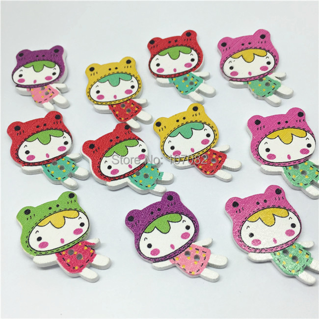 200pcs 31*20mm Girl Wood Buttons Stooped Girls Button Sewing Accessories For Scrapbooking Cardmaking Embellishments(China (Mainland))