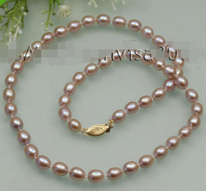 "FREE SHIPPING hot sale~~~~ oval AA 6-7mm pink purple cutlured pearl necklace 17""(China (Mainland))"