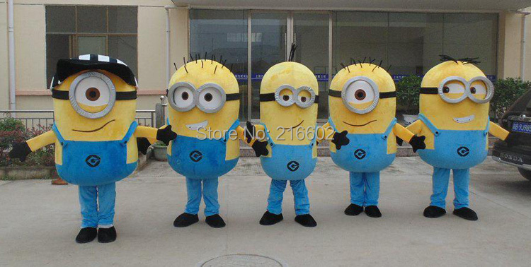 Despicable me minion mascot costume for adults despicable me mascot costume free shipping(China (Mainland))