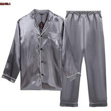 S~XXL Bathrobe Pajamas Set Long Sleeve Turn Down Collar Mens Satin Pajama Single-Breasted Sexy Sleepwear Pajamas For Men 10ZYQ(China (Mainland))