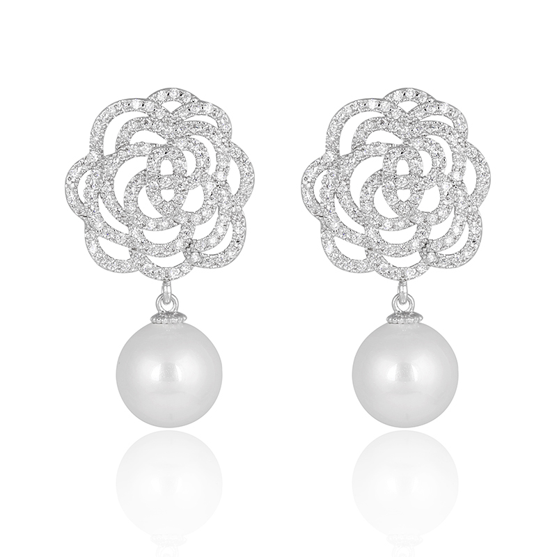 Women's Silver-tone Cubic Zirconia Cream Simulated Pearl Flower Bridal Dangle Earrings Ivory Color(China (Mainland))