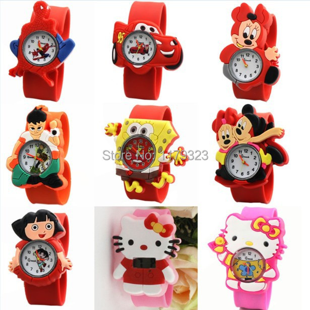 Fashion Silicone Band Cute Cartoon Watch 9 Patterns Kids Casual Sport Watches Quartz Wristwatch Mixed Color Hot - E-Romantic store