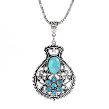 Bohemian lucky bottle pendant rhinestone necklace chain sweater turquoise necklaces(China (Mainland))