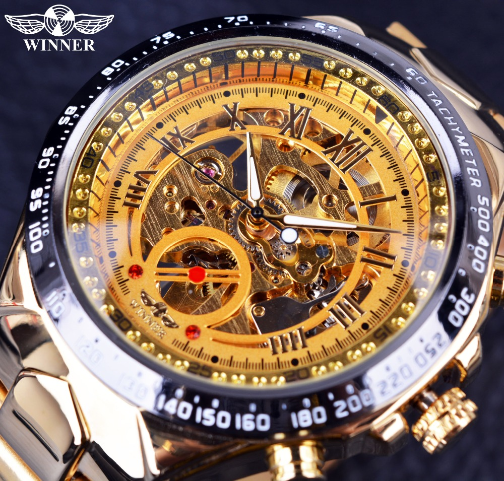 Winner Full Stainless Steel Gold Watch Number Bezel Sport Design Mens Watches Top Brand Luxury Automatic Mechanical Watch Clock