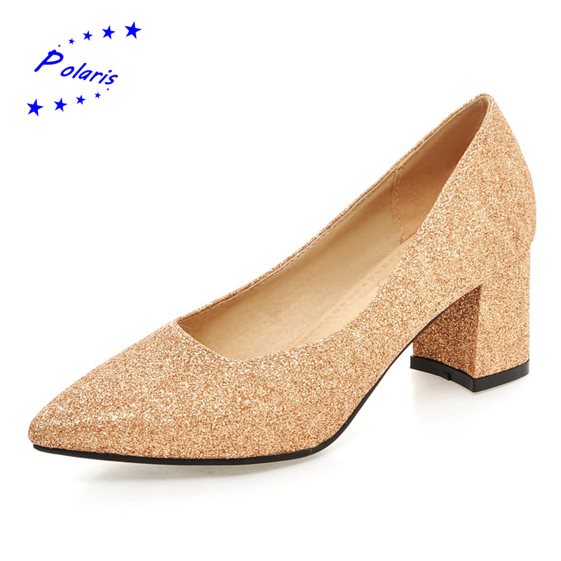 2016 Plus Size 32-45 Women Pumps Fashion Sexy Pointed Toe Slip-On Squre Mid Heels Hot Sale Woman Shoes Black Gold Silver SH372(China (Mainland))