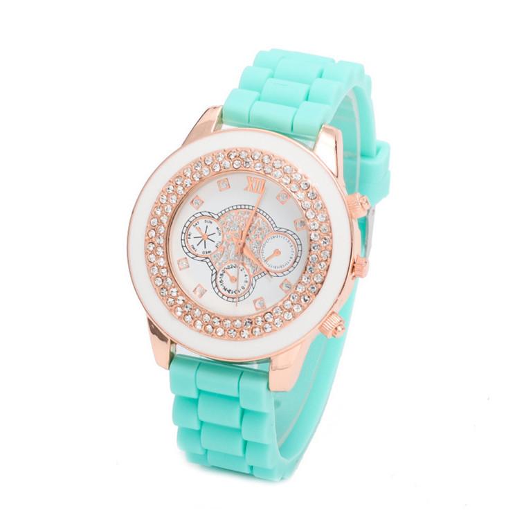 Women Rhinestone watch 2015 Fashion Geneva Silicone Quartz Watch Analog Women Luxury Dress Watch Casual Wristwatch Relogio Clock