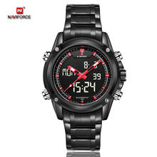 2015 Hot NAVIFORCE Big Black Men Sport LED Digital Watch Luxury Brand Army Military Digital-Watch Full Steel 160 G Quartz Watch